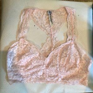 Free people light pink lace bralette size M